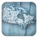 Photo of power lines and map of generating stations across Canada