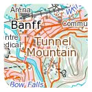 Topographic map of Banff, Alberta showing 1:50 000 detail.